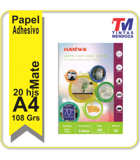 Papel Hartwii Adhesivo Mate A4 100grs x 20 hjs